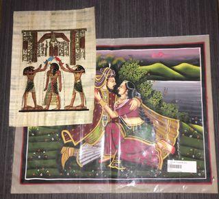 Lote Papiro Egipcio+lámina India pintada a mano