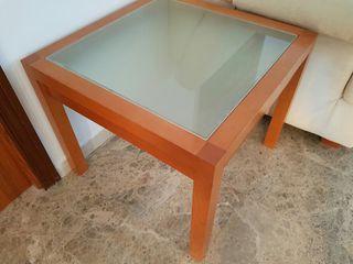 Mesa de esquina de madera y cristal