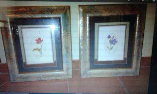 Duo cuadros dibujados y pintados a mano