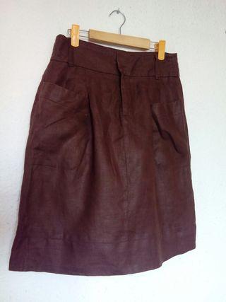 Falda marrón de lino. TM. Zara