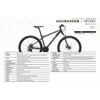 """Bicicleta MTB GT 2017 Aggressor Sport 27,5"""""""