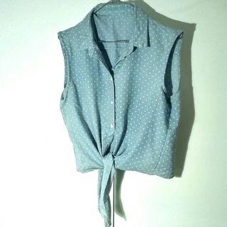 Camisa Vintage topitos azul