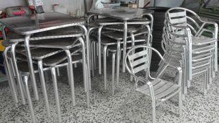 3 Mesas y 2 sillas de aluminio 10 la unidad