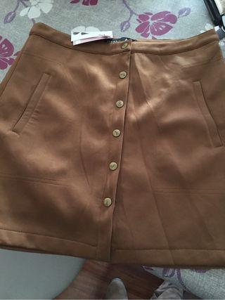 Falda de antelina marrón NUEVA