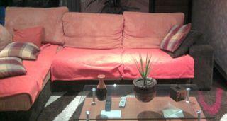 Sofa chaislong marron y naranja