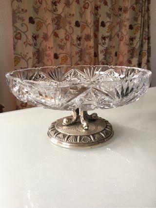 Centro de mesa cristal y plata maciza española
