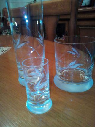 Jgo 18 vasos cristal tallados