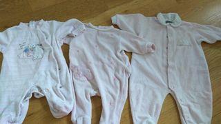 Lote pijamas terciopelo 0,1 y 3 meses