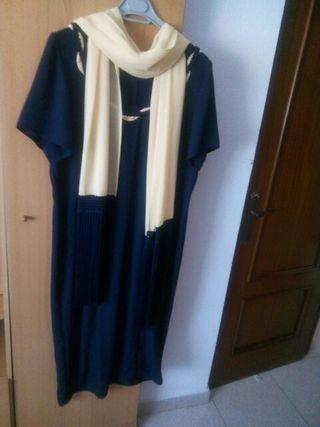 Vestido largo de crepe