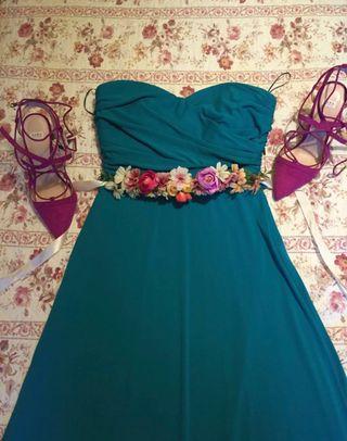 Vestido largo verde agua para evento/boda