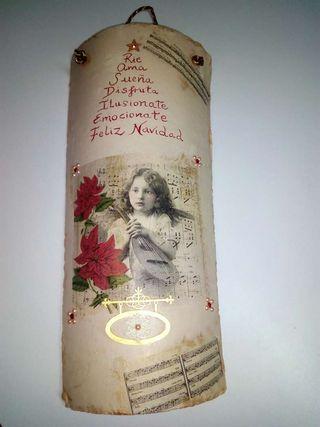 Teja Navidad pintada y decorada a mano