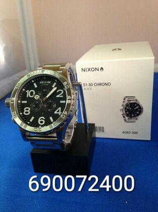 reloj nixon silver-black nuevo