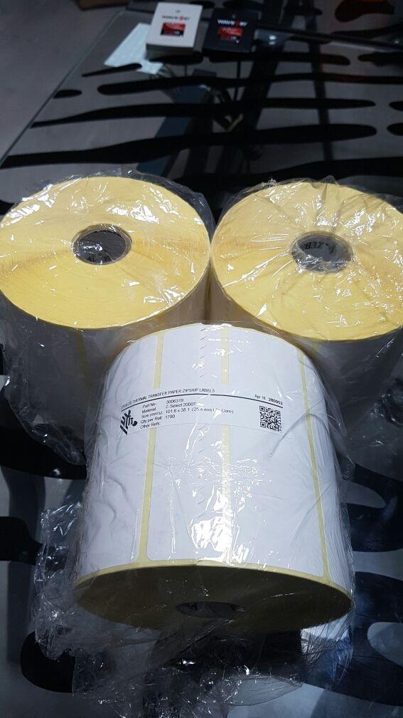 Etiquetas adhesiva Zebra para impresora termica.