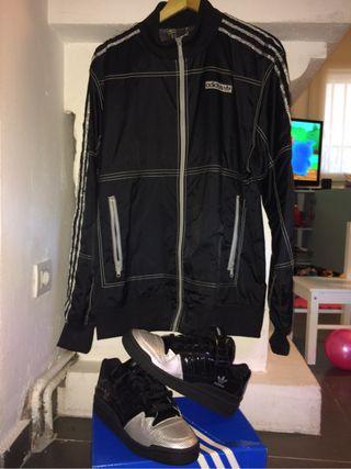 Conjunto Adidas,hip-hop zapas+jacket microphone
