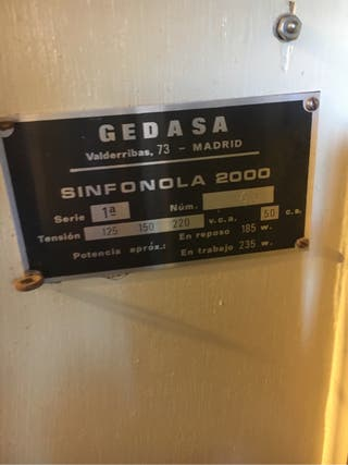 Maquina discos antigua. Cedasa Sinfonola 2000.