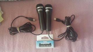 2 Micrófonos y adaptador para Wii nuevos.