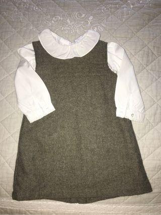 Vestido niña pichi con camisa T-18m