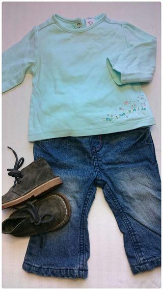 Camiseta Vaqueros y botas niña
