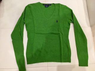 Jersey cuello pico verde,Ralph Lauren, talla XS