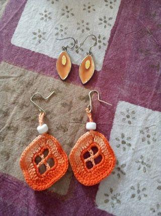 Pendientes croché naranjas