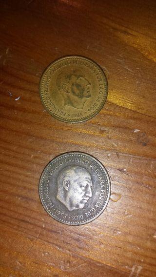 2 monedas de 1 peseta de Francisco Franco