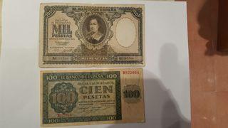 Billete de mil de cien y de 500 pesetas L3