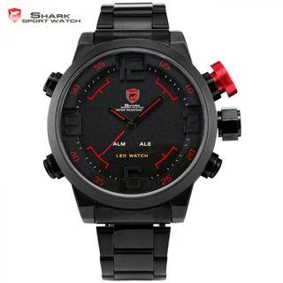 Reloj Shark negro y rojo con pantalla dual