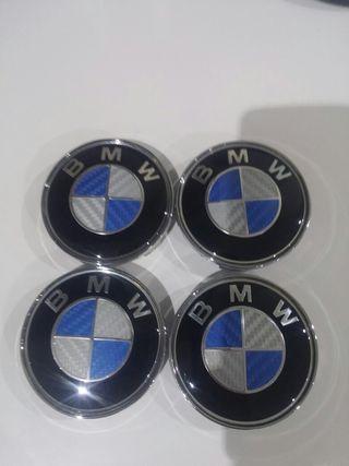 4 TAPAS LLANTAS BMW CARBONO AZUL