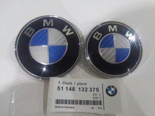 Pack 2 emblemas bmw carbono azul