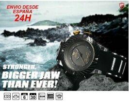 Reloj Shark negro y amarillo con pantalla dual led