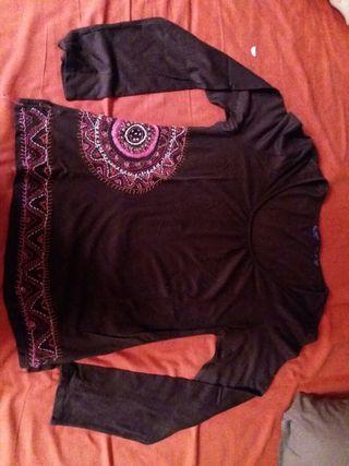 Camiseta manga larga mujer marrón talla XL/46