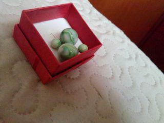 Pendientes de doble bola efecto piedra