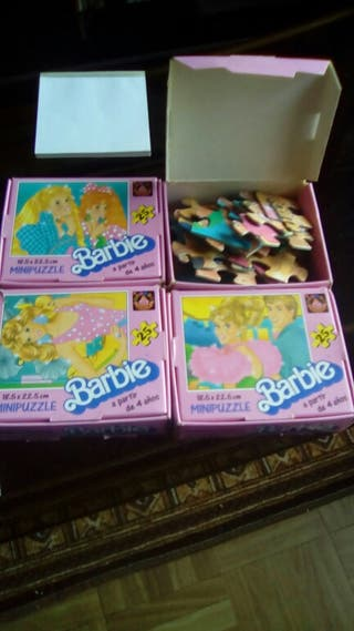 4 PUZLES BARBIE AÑO 1991