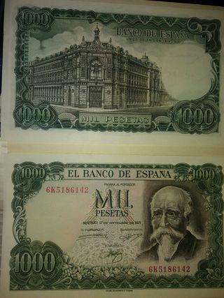 2 billetes de 1000 pesetas