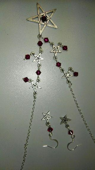 Conjunto joyas medieval collar y pendientes