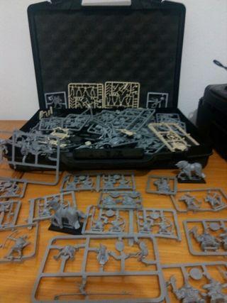 Figuras , maletín y carpesano Warhammer