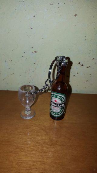 Llavero botella cerveza y copa Heineken