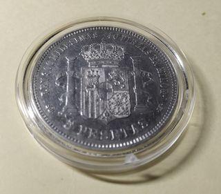 Moneda 5 pesetas 1871 Amadeo I *18-71 SD