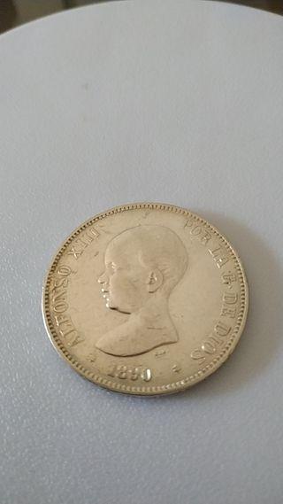 Moneda 5 pesetas 1890 Alfonso XIII *18-90