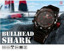 Reloj shark negro y rojo pantalla dual led1