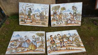 """Cuadros ceramica """"4 estaciones"""" .Pintados A Mano"""
