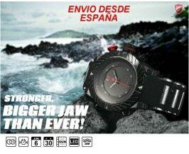 Reloj shark negro y rojo pantalla dual led