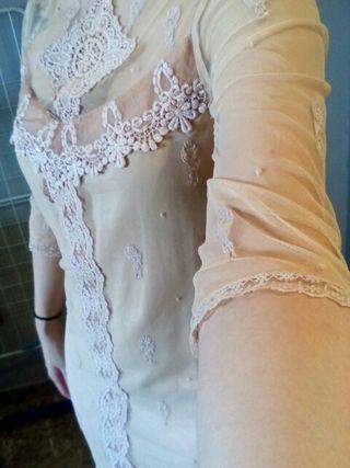 Vestido lencero nude talla S