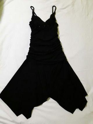 Vestido fiesta negro tirante trenzado ropa