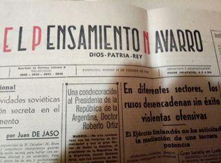 Periodico el pensamiento Navarro 1940
