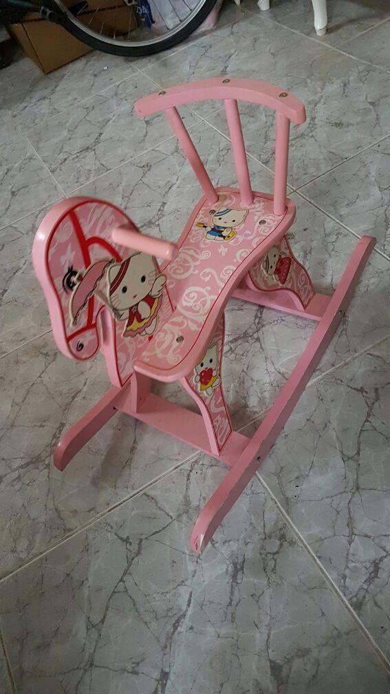 caballo balancin mecedora rosa