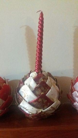 Velas para la adornar la mesa en navidad de segunda mano - Adornar mesa de navidad ...