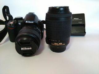 Cámara Nikon D3100 y dos objetivos