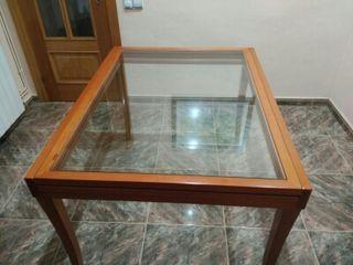 Mesa madera cerezo+cristal extensible
