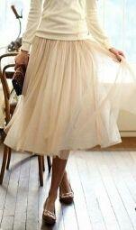 Falda beige de tul